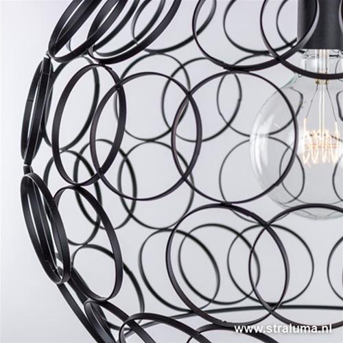 Zwarte hanglamp ringen groot