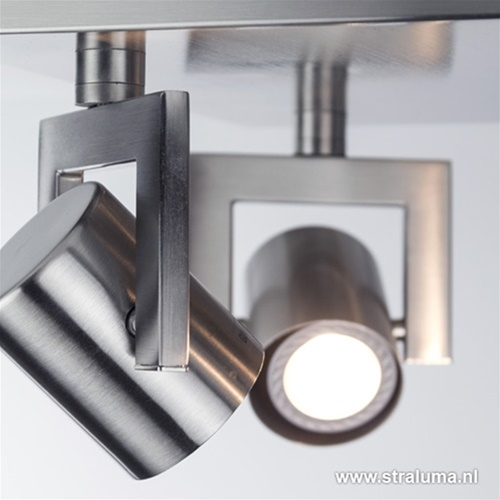 Plafondspot 4L vierkant staal incl.gu10