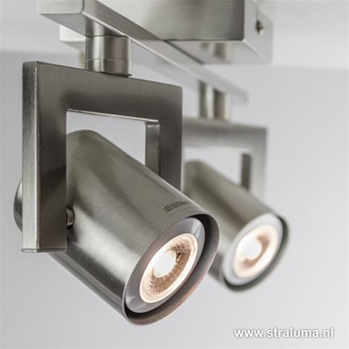 Plafondspot 2L staal op balk tubes