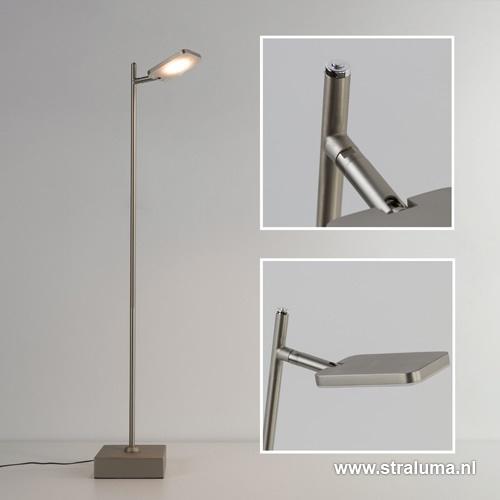 Staande leeslamp nikkel mat led + dimmer