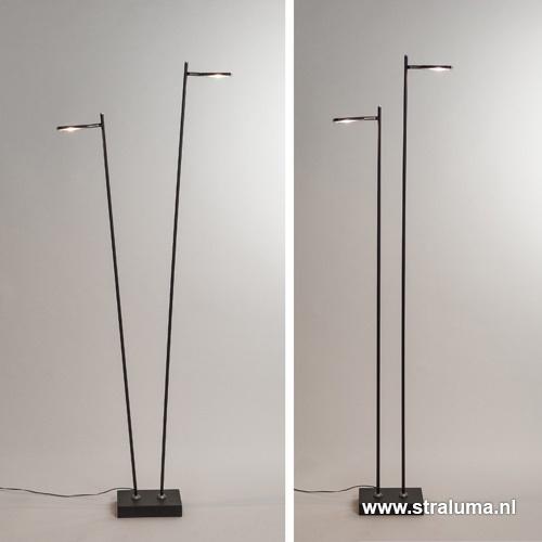 Staande 2-lichts leeslamp zwart 2xpushdimmer