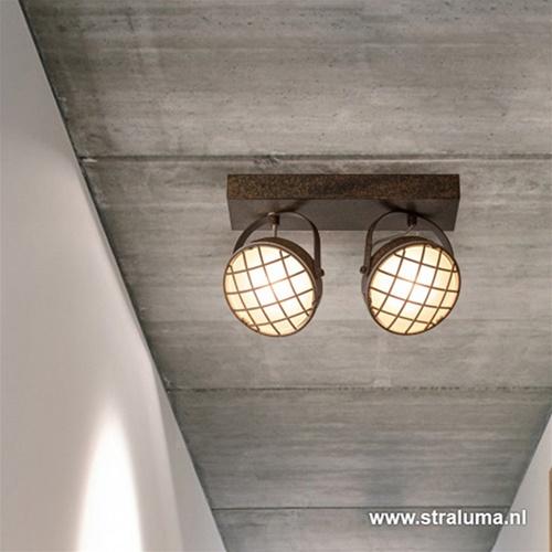 Industriële 2 lichts led spot roestbruin