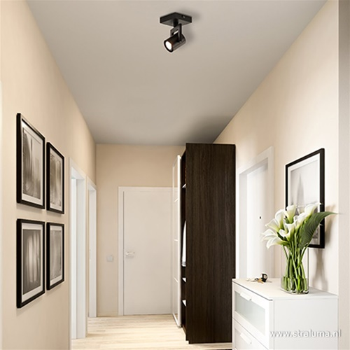 Plafondspot 1L zwart incl.gu10