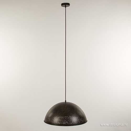 Landelijke hanglamp roestbruin groot