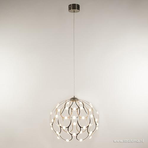 Ronde hanglamp staal met LED groot