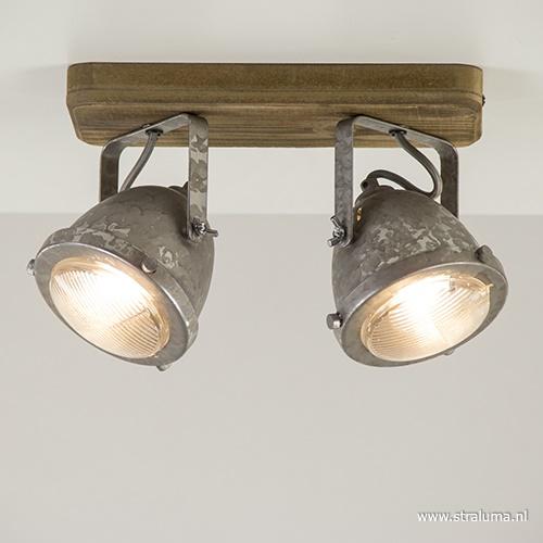 Plafondspot Woody 2L hout/zink gu10