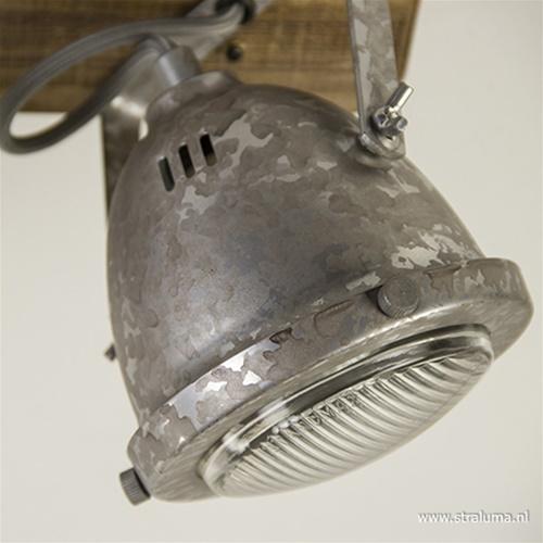 Plafondspot 3-lichts robuust hout/zink