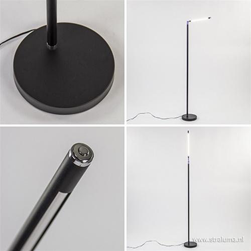Moderne LED vloerlamp zwart dimbaar