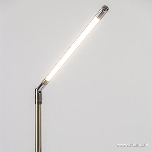 Staande leeslamp nikkel met dimmer