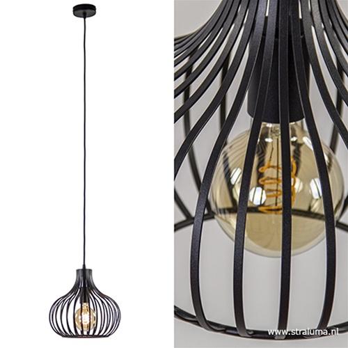 Draadhanglamp klein zwart 28cm
