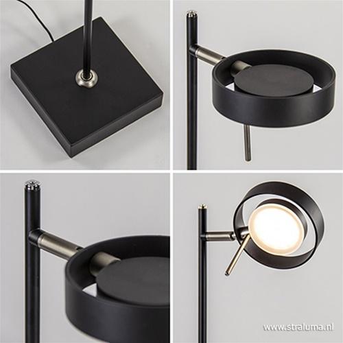 Staande leeslamp zwart met pushdimmer