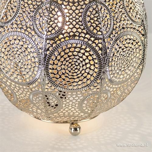Kleine oosterse tafellamp oud zilver