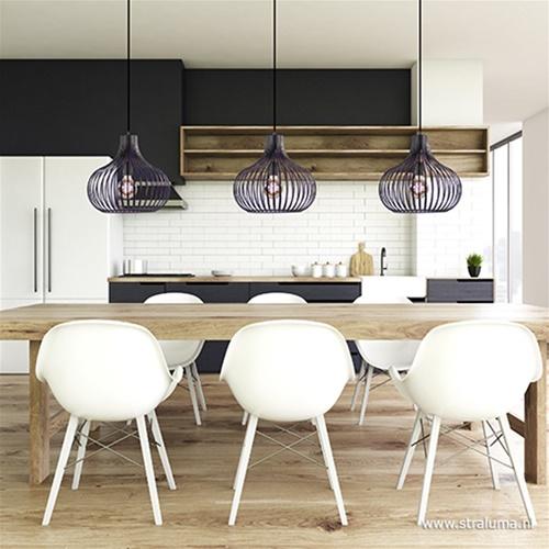 3-Lichts moderne hanglamp draad zwart