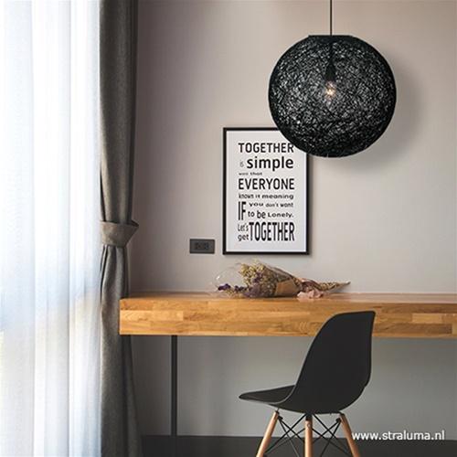Hanglamp Abaca zwart 45 cm modern
