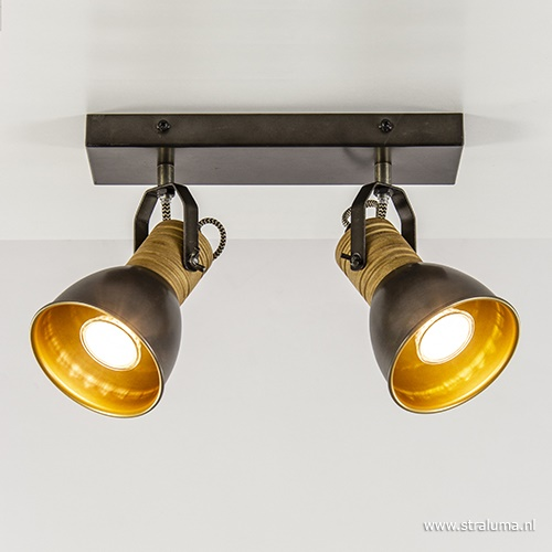 2-Lichts opbouwspot zwart staal en hout