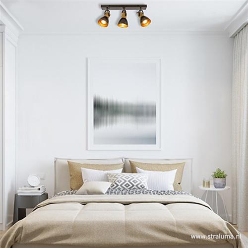 Zwart stalen plafondspot met hout 3-L