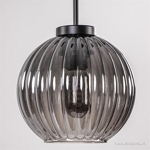 Hanglamp 3-lichts rond smoke glas/zwart