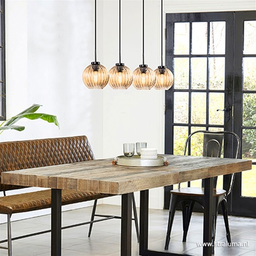 4-Lichts eettafelhanglamp met amber glas