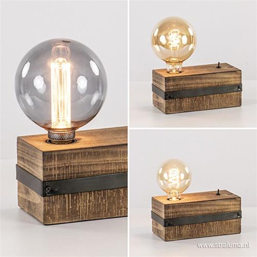 Industrieel landelijke tafellamp hout