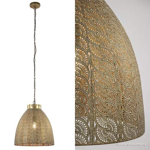 Oosterse hanglamp metaal antiek messing
