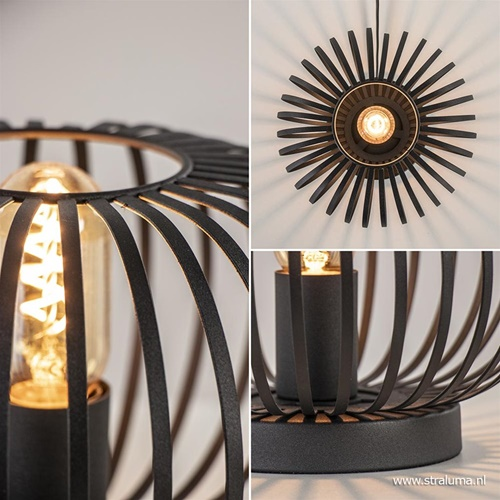 Kleine draad tafellamp modern mat zwart