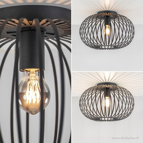 Plafondlamp donut draad zwart 40cm