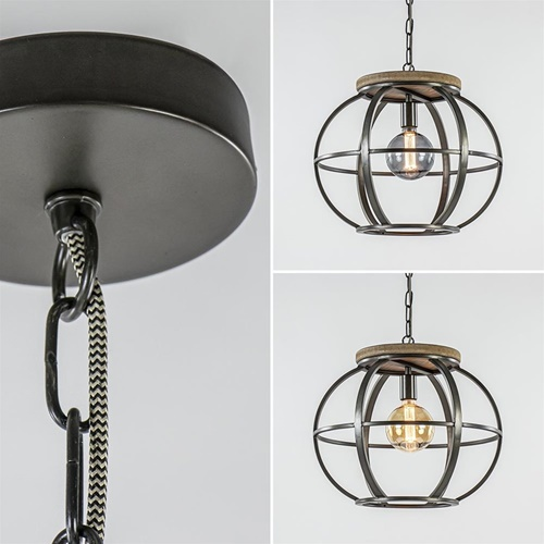 Hanglamp zwart industrieel open frame
