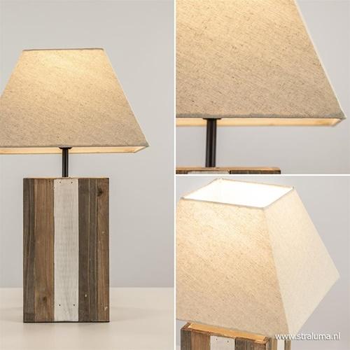 Landelijke tafellamp hout met stoffen kap