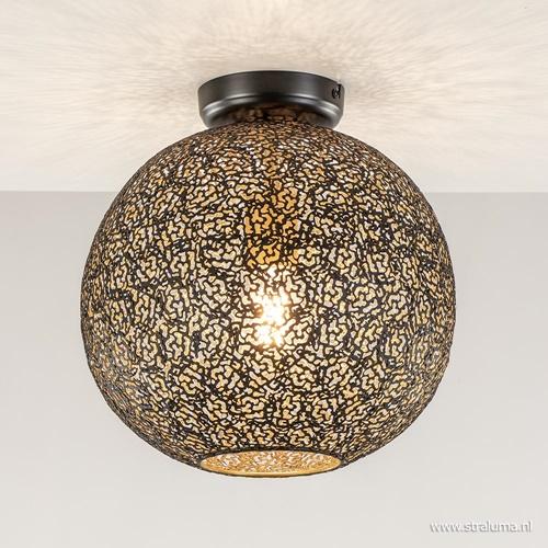 Moderne plafondlamp zwart/goud metaal