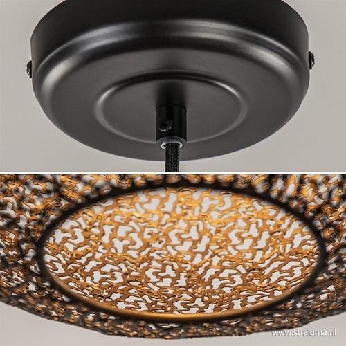Zwart gouden hanglamp metalen bol