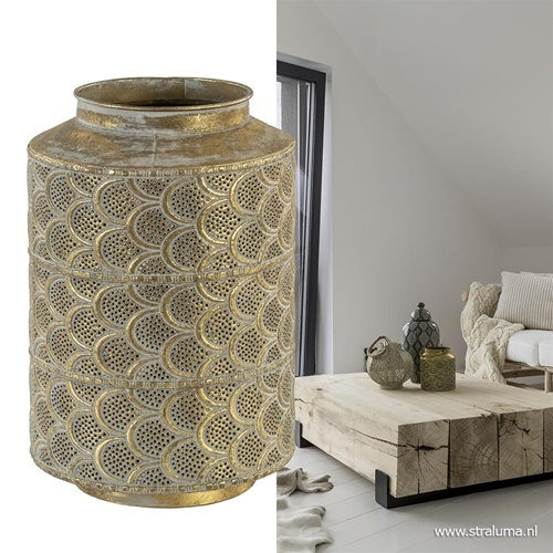 Decoratieve lantaarn tafellamp antiek messing