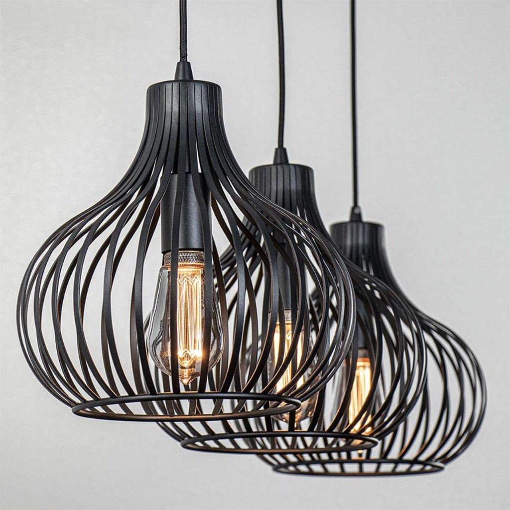 Moderne 3-lichts hanglamp met draad kappen zwart