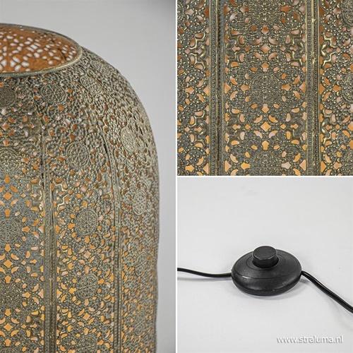 Oosterse vloerlamp antiek goud met decoratief dessin