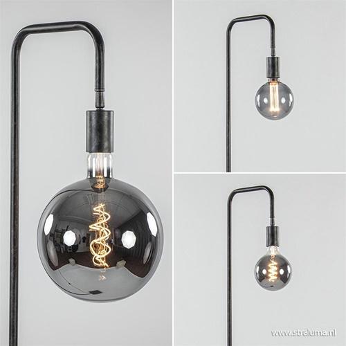 Industriële vloerlamp verweerd metaal excl. bron