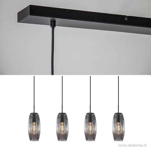 Moderne 4-lichts hanglamp zwart met smoke glas