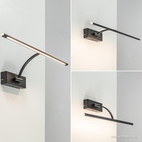 Schilderijlamp zwart 45cm met dimmer