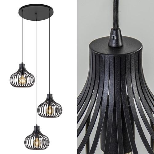 3-Lichts ronde hanglamp met zwarte draadkappen