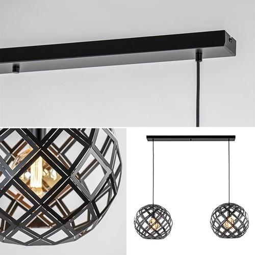 2-Lichts hanglamp Scandinavisch/landelijk mat zwart