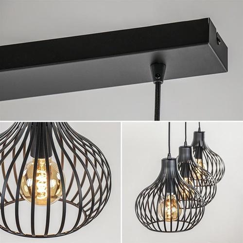 3-Lichts hanglamp zwarte draadkappen