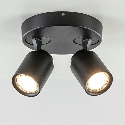 Plafondspot Razza 2L rond zwart gu10
