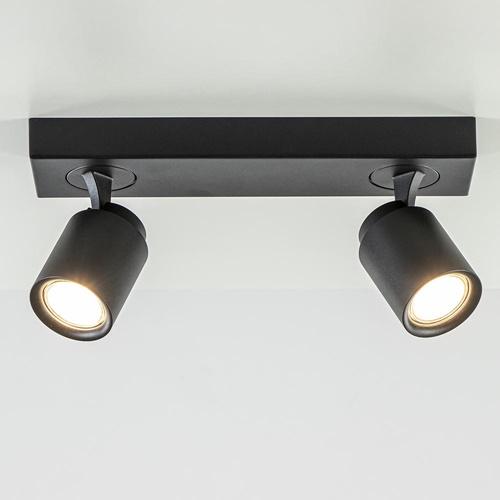 Plafondspot Razza 2L balk zwart gu10