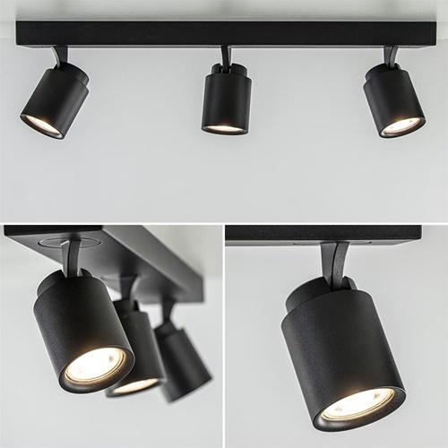 Plafondspot 3L balk zwart tubes gu10