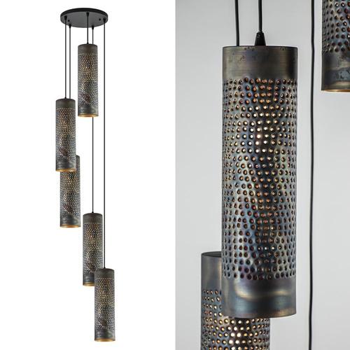 Bruin gevlamde 5-lichts vide hanglamp