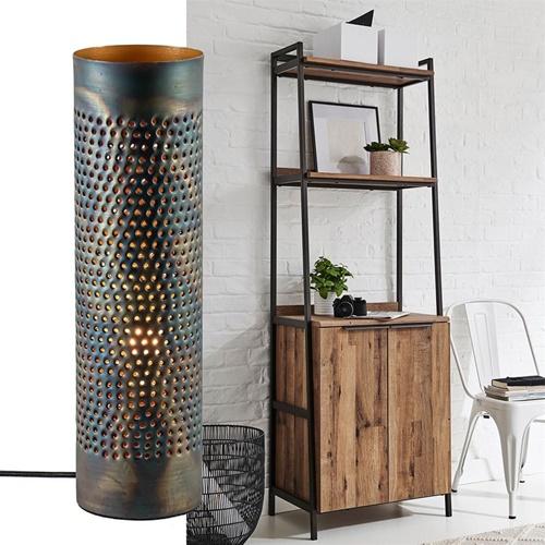 Cilinder tafellamp geperforeerd metaal bruin gevlamd