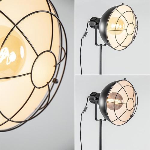 Industriële driepoot staande lamp mat zwart