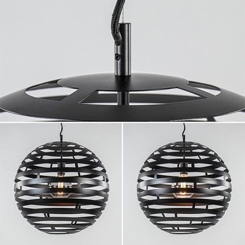 Ronde eettafelhanglamp zwart metalen bol groot