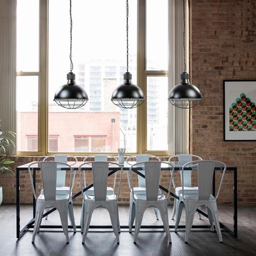 Industriële 3-lichts eettafelhanglamp zwart