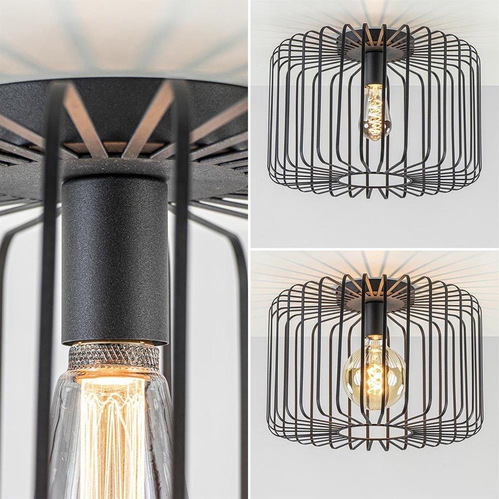 Mat zwarte draad plafondlamp 40 cm