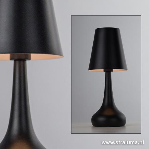 zwarte moderne tafellamp slaapkamer straluma