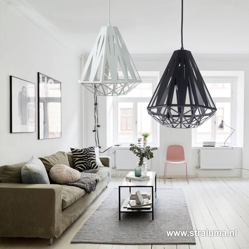 Scandinavische hanglamp wit grafisch | Straluma